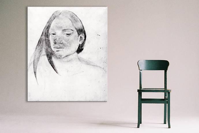 Zwart wit tekening op canvas